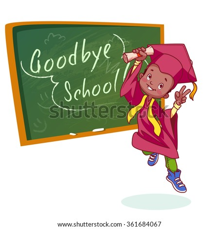 Very happy boy. Graduate in gown and with a diploma in hand near the school board. Vector cartoon character on white background. - stock vector