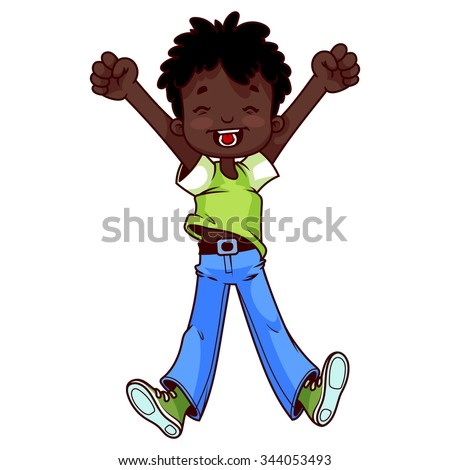 Very happy cute African American boy raised both hands up and jumping. Happy childhood. Children's joy. Vector cartoon character on a white background. - stock vector