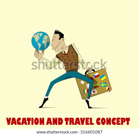 Very happy man going on vacation. Vector - stock vector
