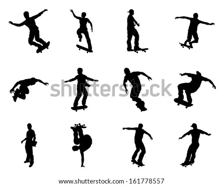 Very high quality and highly detailed skating skateboarder silhouette outlines. Skateboarders performing lots of tricks on their boards. - stock vector