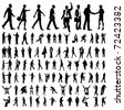 Very many high quality business people silhouettes - stock vector