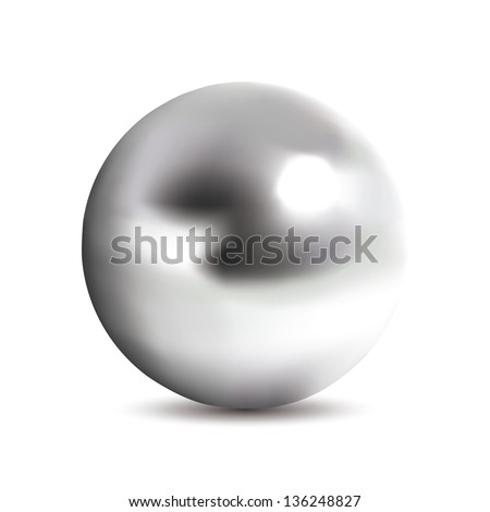 Very realistic shiny chrome ball. Gradient mesh used. - stock vector