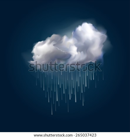 Very realistic vector cloud and rain, possible to change the size. - stock vector