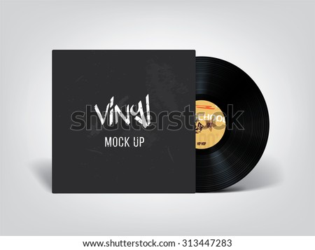 Very realistic vinyl mock up. Place your design on this beautiful vinyl ! - stock vector