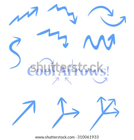 Very simple tracery handmade arrows, maybe used for infographics or business. Single, double, triple arrow, up arrow, down, twisted, pointer. - stock vector