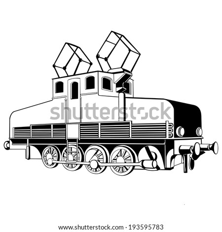 very small old electric locomotive for design - stock vector