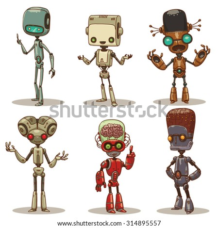 Very Smart Robots, set - stock vector