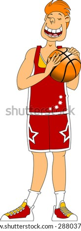 very tall athlete in red holding a basketball - stock vector