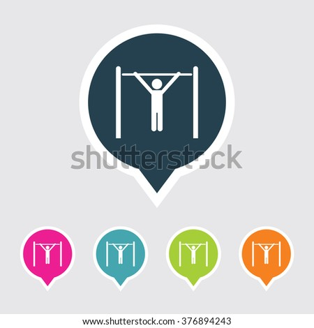Very Useful Editable Athlete Icon on Different Colored Pointer Shape. Eps-10. - stock vector
