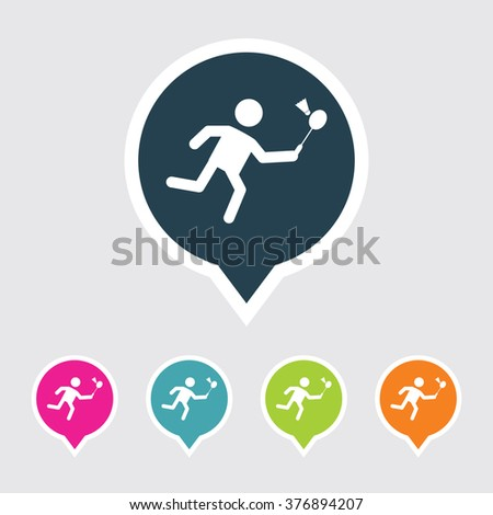 Very Useful Editable Badminton Icon on Different Colored Pointer Shape. Eps-10. - stock vector