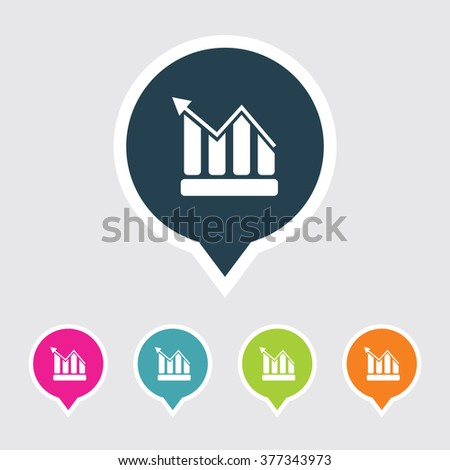 Very Useful Editable Graph Icon on Different Colored Pointer Shape. Eps-10. - stock vector