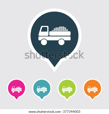 Very Useful Editable Truck Icon on Different Colored Pointer Shape. Eps-10. - stock vector