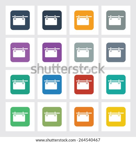 Very Useful Flat Icon of Hanging Billboard with Different UI Colors. Eps-10. - stock vector