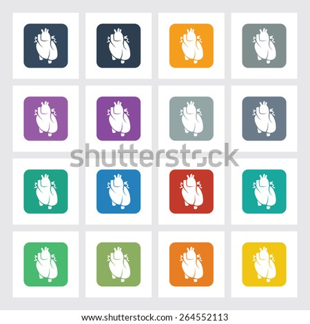Very Useful Flat Icon of Heart with Different UI Colors. Eps-10. - stock vector