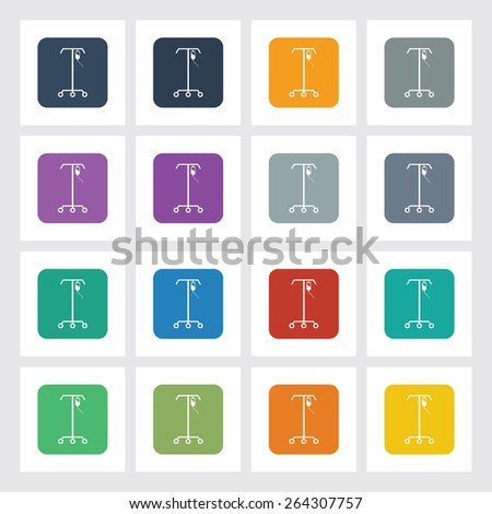 Very Useful Flat Icon of IV Stand with Different UI Colors. Eps-10. - stock vector
