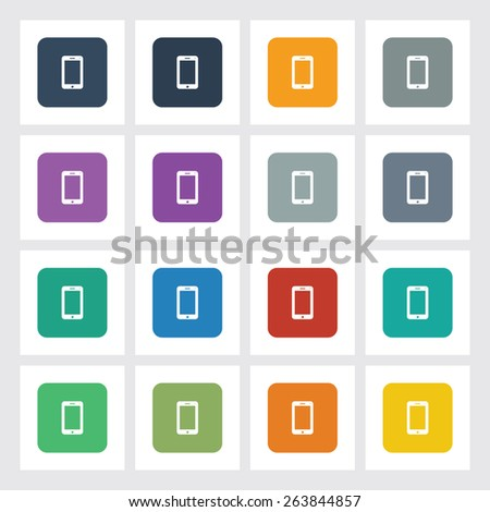 Very Useful Flat Icon of Mobile Phone with Different UI Colors. Eps-10. - stock vector