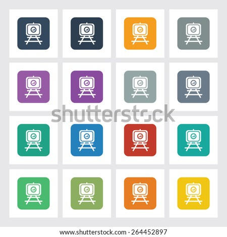 Very Useful Flat Icon of Presentation Chart with Different UI Colors. Eps-10. - stock vector