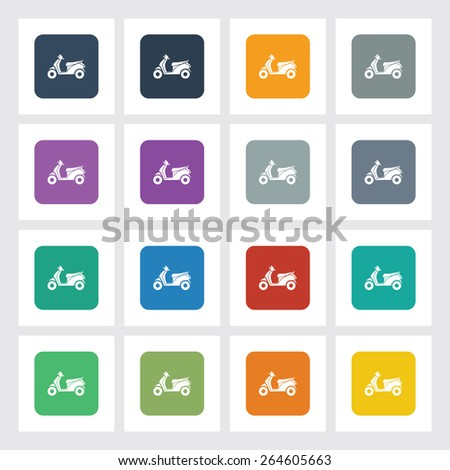 Very Useful Flat Icon of Scooter with Different UI Colors. Eps-10. - stock vector