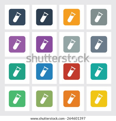 Very Useful Flat Icon of Test Tube with Different UI Colors. Eps-10. - stock vector