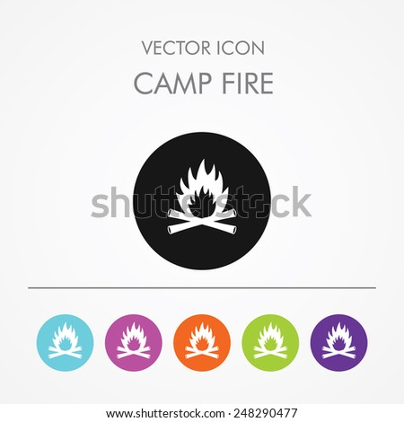 Very Useful Icon of camp fire On Multicolored Flat Round Buttons. - stock vector