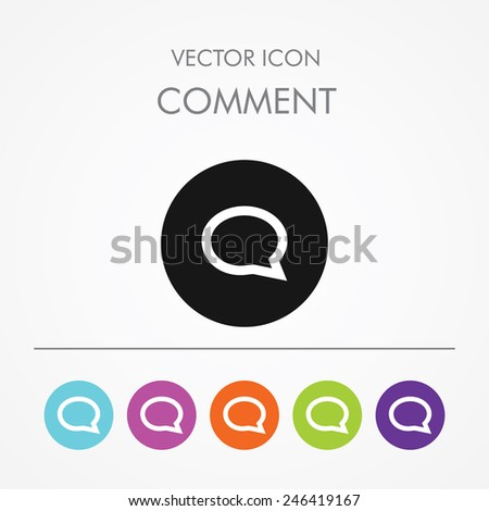 Very Useful Icon of Comment On Multicolored Flat Buttons - stock vector