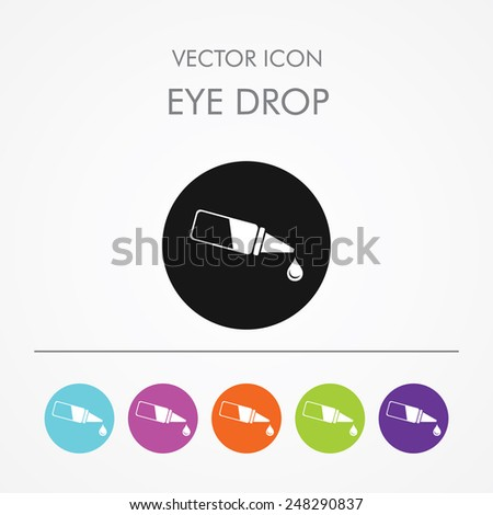 Very Useful Icon of eye drop On Multicolored Flat Round Buttons. - stock vector