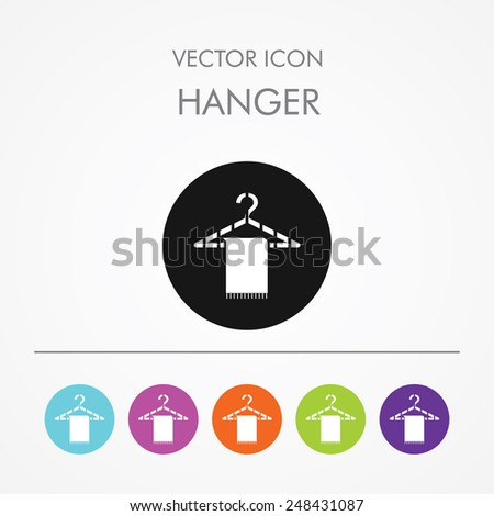 Very Useful Icon of hanger on Multicolored Round Buttons. - stock vector