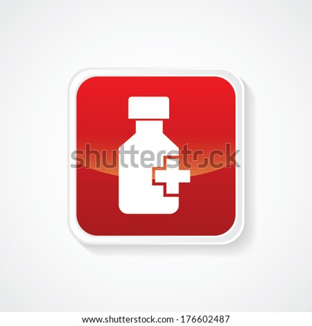 Very Useful Icon of medicine bottle and pills on Red Button. Eps.-10. - stock vector