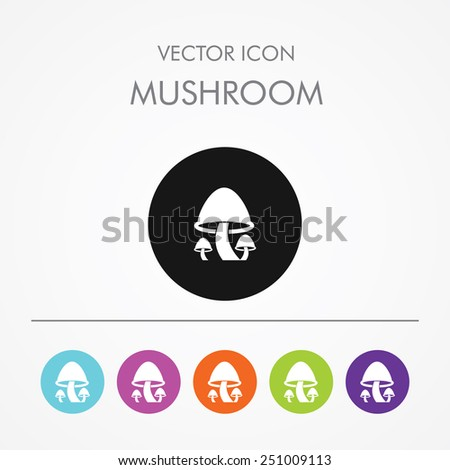 Very Useful Icon of mushrooms on Multicolored Round Buttons. - stock vector