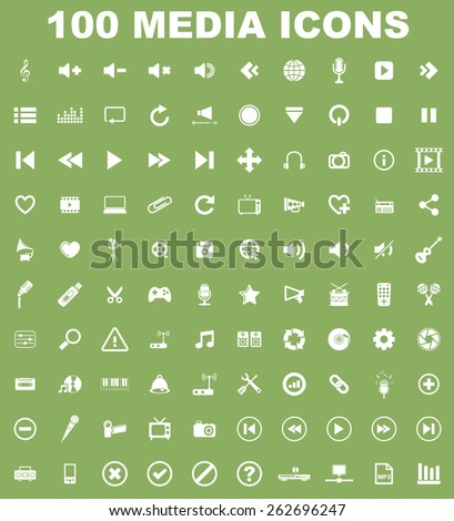 Very Useful Music Media Icon Set On Flat UI Color Background. Eps-10. - stock vector