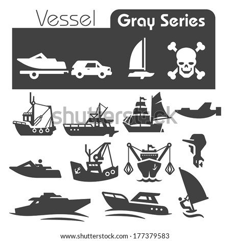 Vessels Icons gray series - stock vector