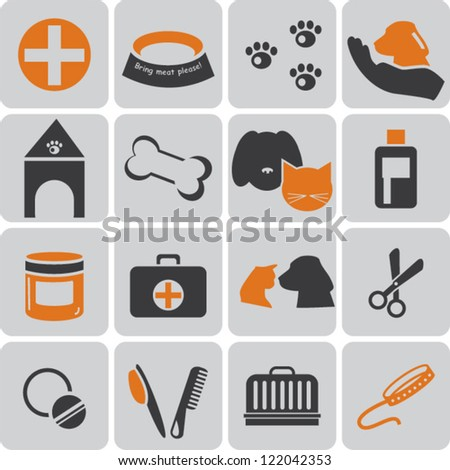 Vet color icons - stock vector