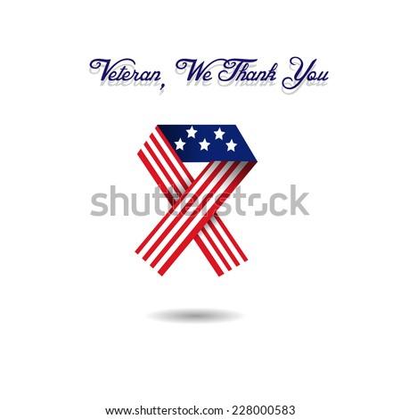 Veteran ribbon  USA Flag - stock vector
