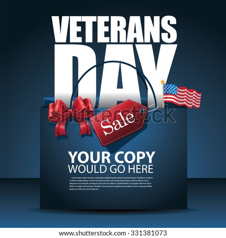 Veterans Day Sale shopping bag Background EPS 10 vector royalty free stock illustration for greeting card, ad, promotion, poster, flier, blog, article, social media, marketing - stock vector