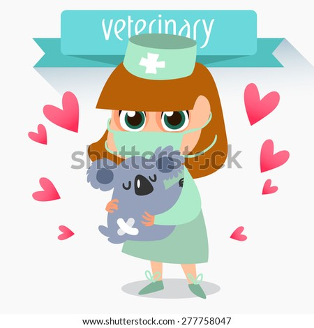 Veterinary concept with doctor medical examination of animal.  Veterinary services - Emergency Room. Vector illustration. Profession vet. treatment of koala - stock vector