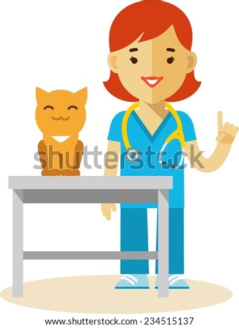 Veterinary concept with doctor medical examination of cat  - stock vector