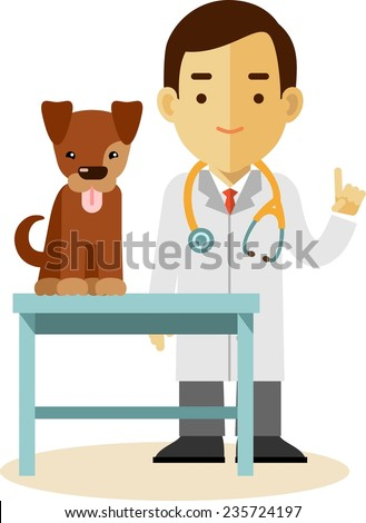 Veterinary concept with doctor medical examination of dog  - stock vector
