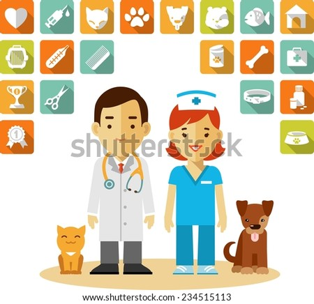 Veterinary concept with doctor, nurse, dog, cat and set of veterinary icons in flat style - stock vector