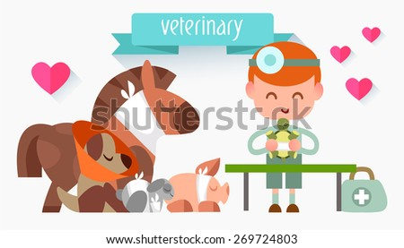 Veterinary illustration style flat. Doctor with animals. People in the style of flat. Profession vet. Treatment of pets - stock vector