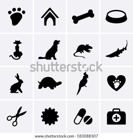 Veterinary Pet Icons - stock vector