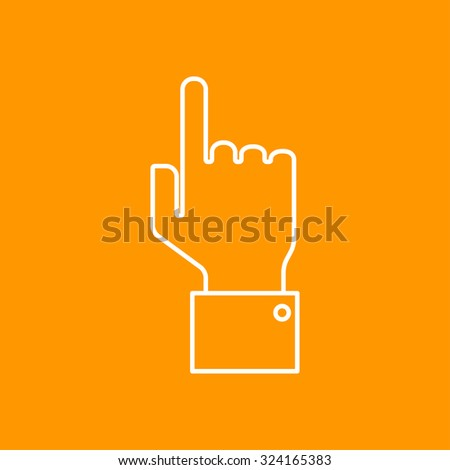 Vetor outline hand pointer icon on color background  - stock vector