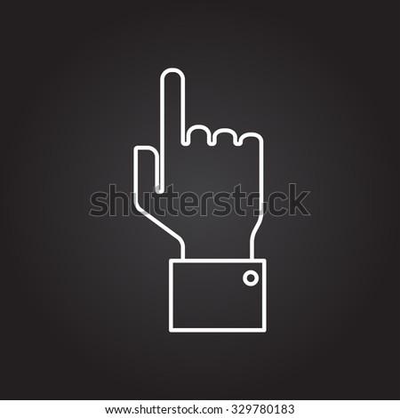 Vetor white outline hand pointer icon on black background  - stock vector