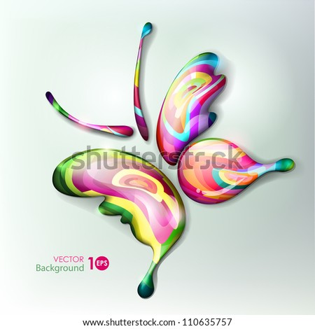Vibrant beautiful abstract butterfly. Multicolored drops. Vector eps 10. - stock vector