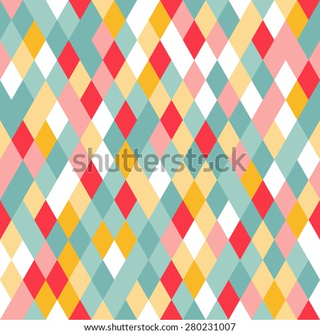 Vibrant Colorful Random Colored Geometric Seamless Pattern. Vector Pixel Rhombus Background. Graphic Textured Puzzle Art. - stock vector
