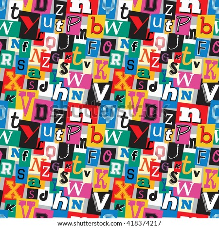 Vibrant multicoloured kidnapper ransom note seamless pattern. Fun background with letters for decoration, background and print. - stock vector
