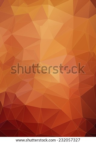 vibrant orange polygonal background, vector - stock vector