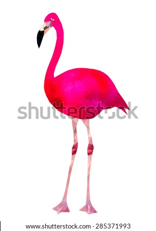 Vibrant pink flamingo bird low poly triangle vector image - stock vector