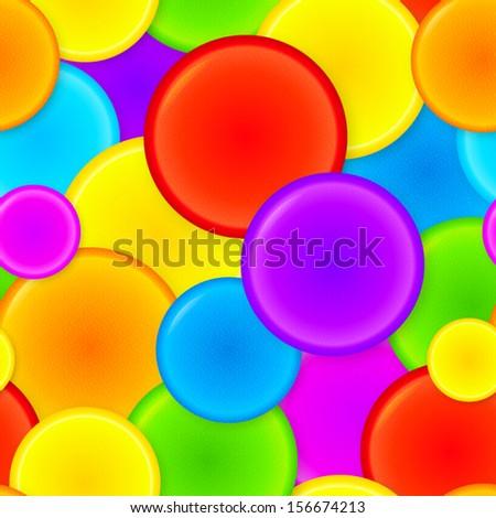 Vibrant rainbow plastic circles vector seamless pattern - stock vector
