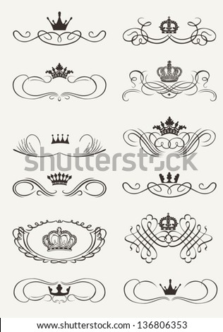 Victorian Scrolls and crown. Decorative Dividers. Vintage - stock vector