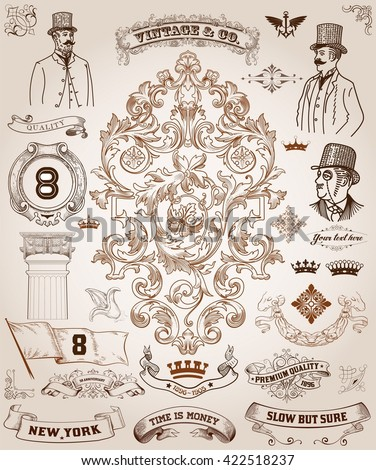 Victorian, scrollwork Design Elements. Premium Quality set - stock vector
